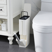 Bathroom trash bucket Set Waste Bin Plastic with Toilet Brush Bathroom Dustbin Trash Cans Garbage Bucket Garbage Bag Dispenser