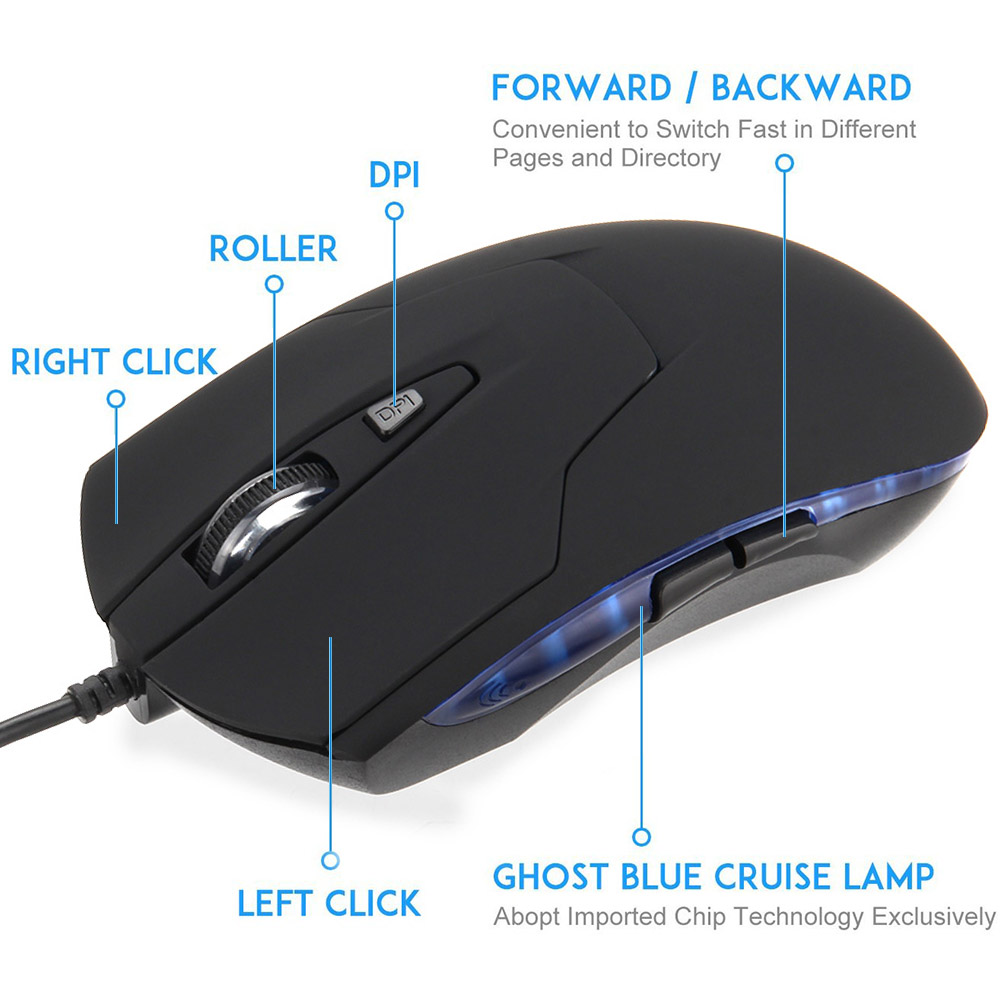 LED USB Wired Gaming Mouse 6 Buttons Adjustable 2400 DPI Optical Computer Mice For Game Laptop JFlyer
