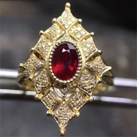 18k Gold Ring Hot Sale MEDBOO New Style 18k Gold Inlay Natural Red Ruby Gemstone Ring