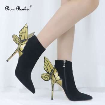 Roni Bouker Ladies Charming PointyToe Black Suede Butterfly High Heels Short Boots Gold Wings Stiletto Ankle Booties Woman Shoes