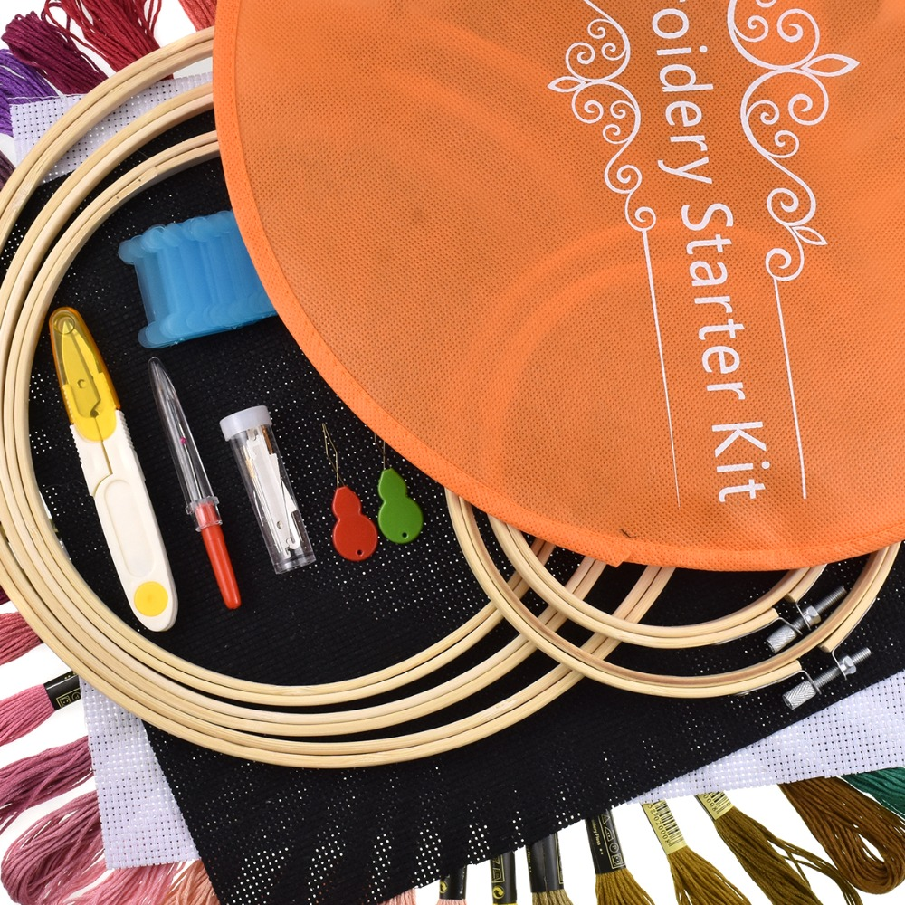 Cross-Stitch-Hoop-Embroidery-Hoop-5pcs-Round-Adjustable-Bamboo-Hoops-50pcs-embroidery-thread-sewing-accessories-Embroidery