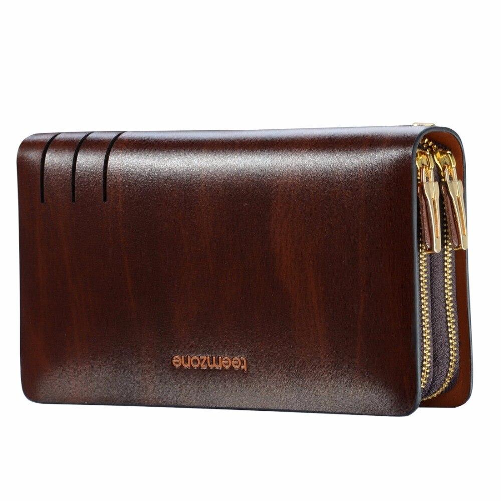 Teemzone Luxury Brand Genuine Cowhide Leather Portomonee Vintage Walet Male Wallet Men Long Clutch with Coin Purse Pocket S3316