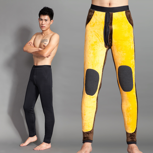 10% off kneeguard Hodginsii male thick warm pants thickening high waist lambsdown plus velvet trousers kneepad waist support