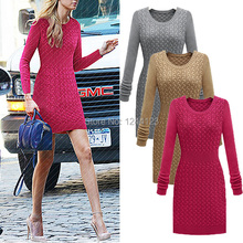 New Winter Autumn Casual Women Sexy Dress Long Sleeve Solid Knitted Warm Party Dresses Vestidos