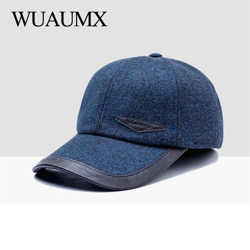 Wuaumx lujo marca moda orejeras del invierno del otoño de los hombres gorras  de béisbol masculino orejera caliente protección sombreros b9799f01fe0b