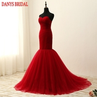 Sexy Long Mermaid Evening Dresses Party Red Sweetheart Beautiful Women Prom Formal Evening Gowns Dresses On