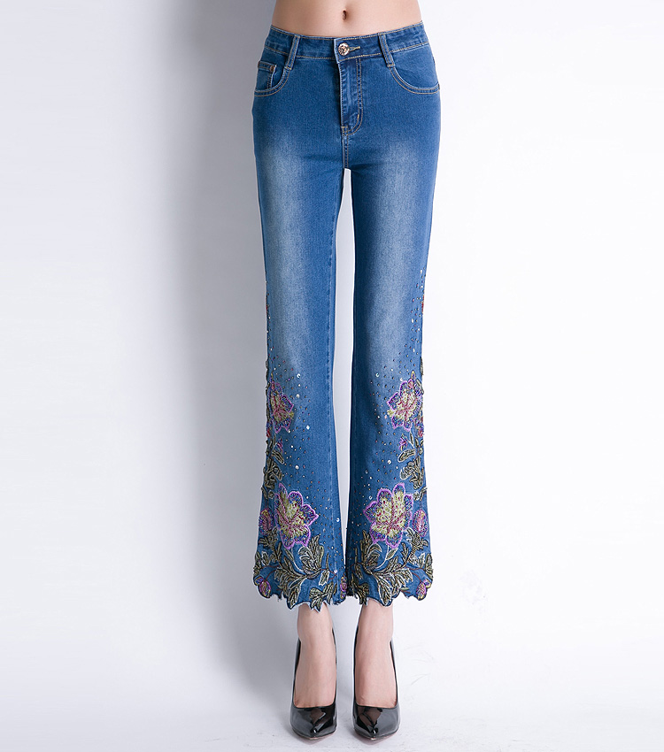 KSTUN FERZIGE Women Jeans High Waist Stretch Floral Embroidered Flares Bell Bottoms Hand Beading Slim Fit Boot Cut Ankle-length Pants 22