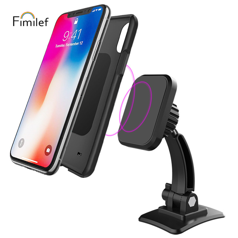 Fimilef Magnetic Car Phone Holder Universal Car Phone Mount For Dashboard, 60° Adjustable Cell Phone Cradle Mount For Iphone XR