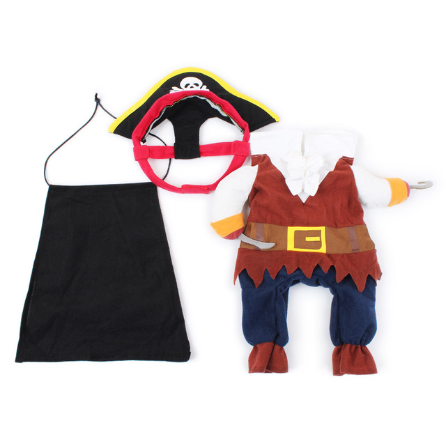 Cool Caribbean Pirate Pet Halloween Party Costume Suit for Small to Medium Dogs / Cats Cute Funny Pet Clothes Festival Apparel