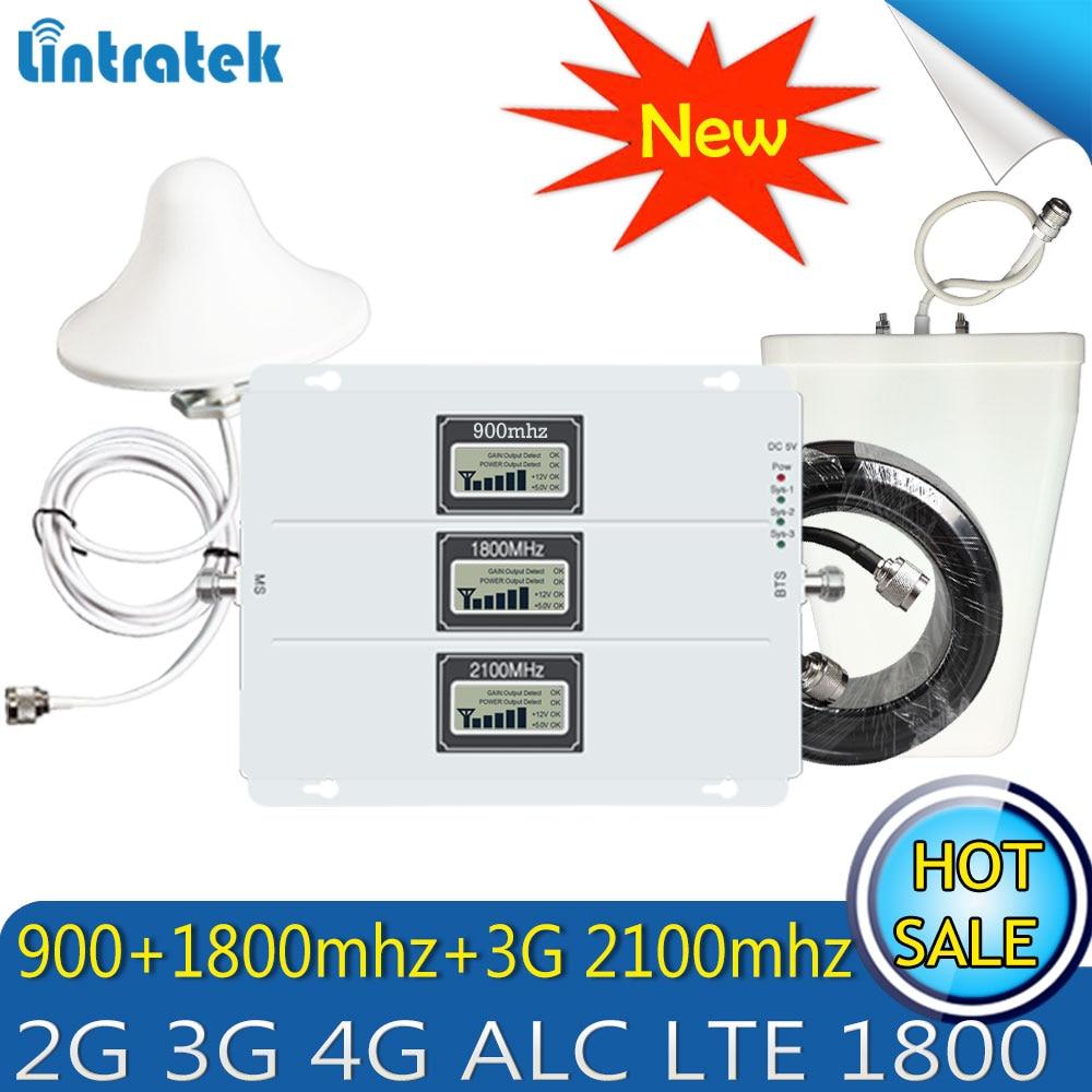Lintratek GSM DCS WCDMA 900 + 1800 + 2100 Tri Band amplificador de señal móvil 2G 3G 4G LTE repetidor celular GSM 3G 4G amplificador de señal