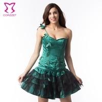 c3a75fbbe41d7b Green Leaf Appliques Burlesque Corset Dress Plus Size Waist Training Corset  Steel Bone Lolita Dress Sexy