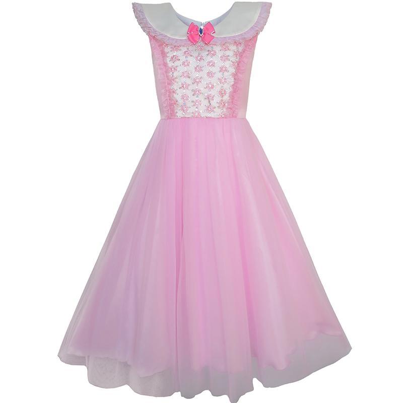 Sunny Fashion Vestidos niña Rosa Princesa Disfraz Cenicienta Lujoso ...