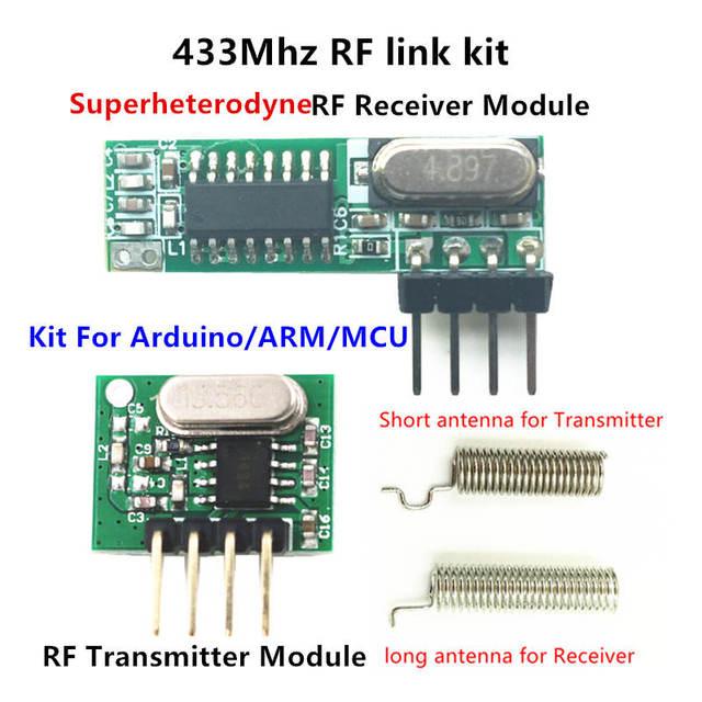 433เมกะเฮิร์ตซ์Superheterodyneรับสัญญาณความถี่คลื่นวิทยุและโมดูลส่งสัญญาณASKชุดที่มีเสาอากาศสำหรับA Rduino uno Diyชุด433เมกะเฮิร์ตซ์ระยะไกลควบคุม