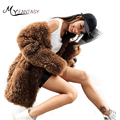 M.Y.FANSTY 2019 New Winter Women's Alpaca Fur Coat V-Neck Brown Curly Real Fur Coat Medium Long Sleeve Alpaca Curly Fur Coats