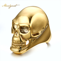 Fashion Big Gold Color Men Ring 316 Stainless Steel Skull Rock Rings Wholesale Rings For Men