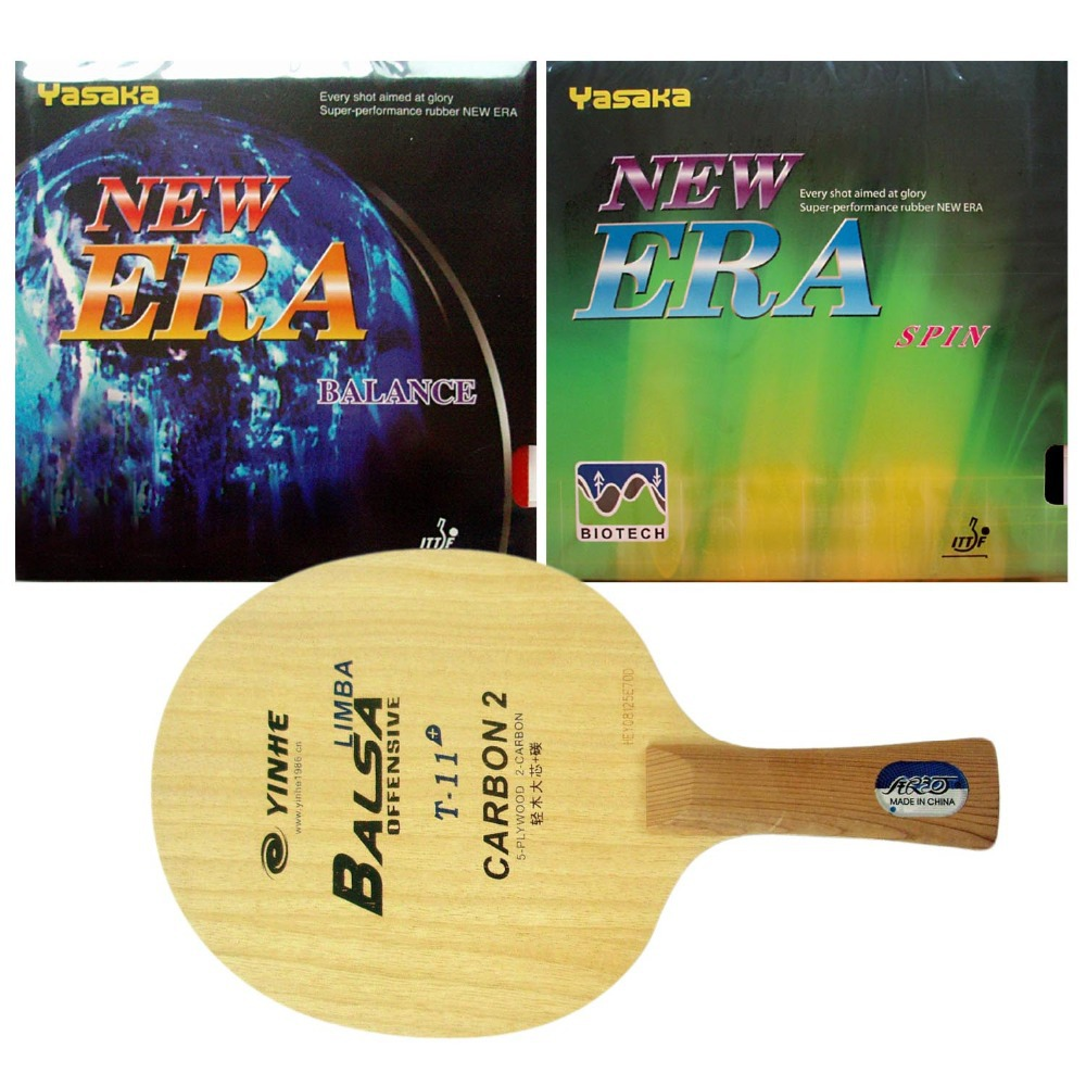 Pro Table Tennis PingPong Combo Racket Galaxy YINHE T-11+ with Yasaka ERA BALANCE and  ERA SPIN NO ITTF Shakehand long FL galaxy milky way yinhe v 15 venus 15 off table tennis blade for pingpong racket