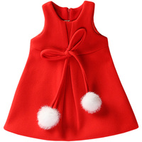 Baby Girl Dresses Spring and Autumn Girls Clothes 2018 New Fashion Pure Color Lady Dress for Toddlers Vest Dress with Plush Ball