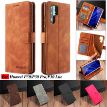 Huawei P30 Case Leather Vintage Phone Cases For Telefoon Hoesje Pro Flip Wallet On Lite Cover