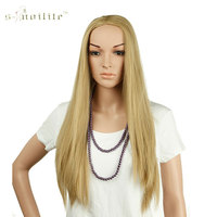 SNOILITE 25 Long Straight 3 4 Full Wigs Synthetic Heat Resistant Clip In Hairpiece Ladies Wig