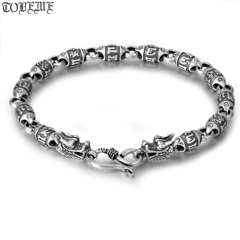 Handcrafted 100 925 SilverTibetan Dragon Six Words Proverb Beaded Bracelet 925 Sterling Buddhist OM Mantra Dragon