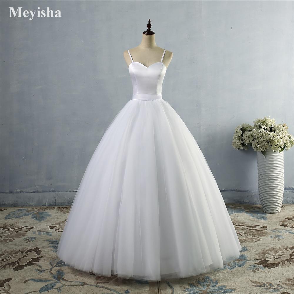 ZJ9086 Spaghetti Strap Beach wedding dresses 2019 Simple White Tulle Bridal Gown Custom Mad Sweetheart Elegant