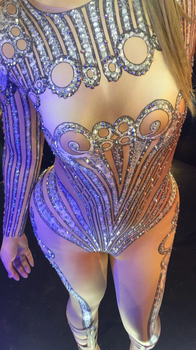 Women Printing costume Crystal jumpsuit Sexy stretch leotard Rompers Shining stage wear Sparkling Diamond party nightclub prom