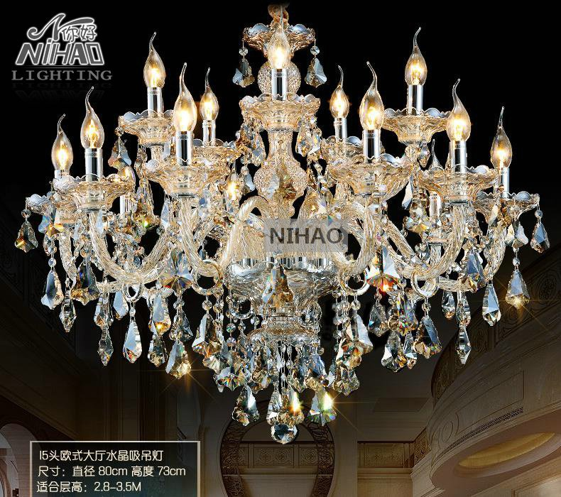 Crystal Chandelier meerosee Hotel Lighting Cognac Glass Chandelier Elegant Cristal Lustres with Lampshades 15 Lights MD3148