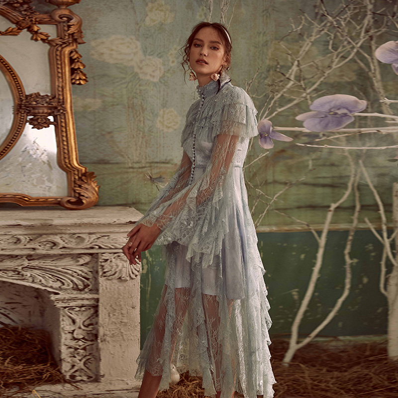 High Quality Designer Runway Dress 2019 Elegant Irregular Layer Ruffles White/Blue Lace Long Dress For Women Spring Autumn