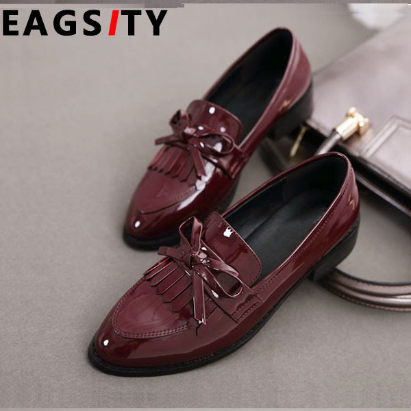 Wine Red Patent Leather women pointed toe flats Shoes Slip-On Tassel loafer shoes office ladies casual Shoes