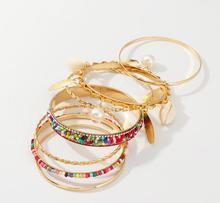 7Pcs/Set Bohemian Women Cowrie Shell Faux Pearl Charm Beaded Bangle Bracelet Fashion