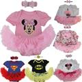 Nueva Ropa Del Bebé Establece Bebé Jumpersuit Romper Tutu Dress + Diadema de Encaje Regalos de la Navidad 2 unids Bebe Primer Cumpleaños disfraces