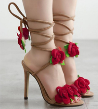 2017 new European and American Fan star shoes 10 cross-lace roses with high-heeled sandals