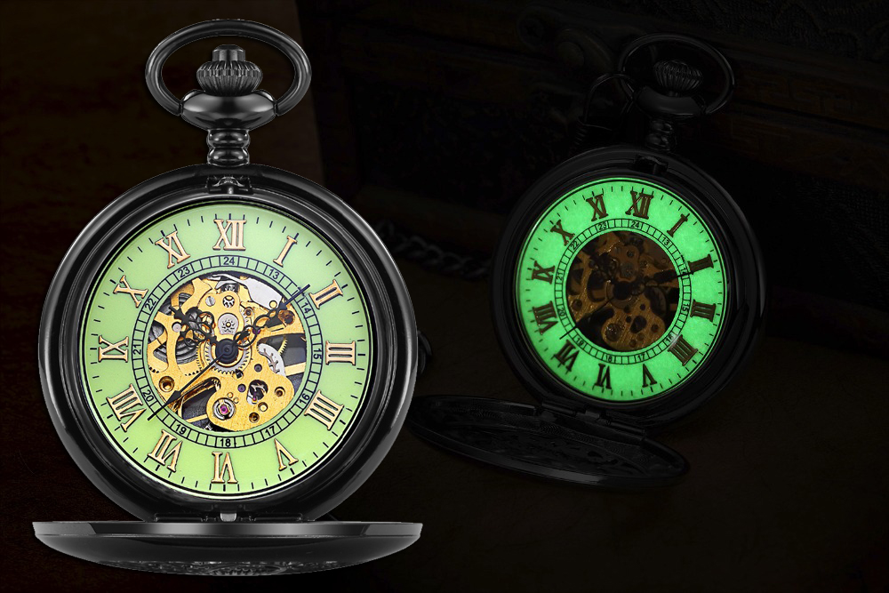 Steampunk Mechanical Pocket Watch Men Retro Pendant Watch Chain Vintage Necklace Mechanical Hand Wind Clock Pocket Watch Gifts 14