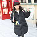 2016 girls cotton-padded clothes winter down jacket new cuhk children's recreational coat ribbons with thick cotton jacket