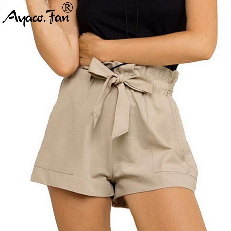 2019 Hot Shorts For Women Summer New High Waist Ruffles Solid Loose Casual Shorts Slim Shorts Fashion Lady Lace Up Short Pants