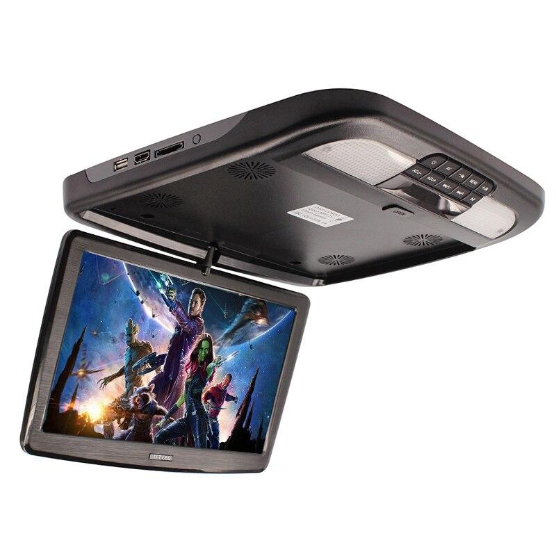 Moniteur de voiture de 12 pouces rabattable TFT LCD moniteurs de montage de toit Automobile avec lecteur MP5
