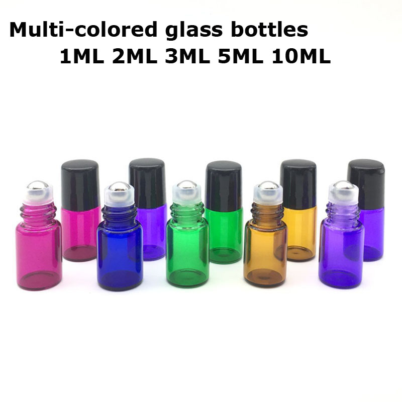 5Pcs/Lot 1ml 2ml 3ml 5ml 10ml Glass Roll on Bottle Sample Test Roller Essential Oil Vials with Stainless Steel 100pcs lot high quality 10ml thick glass roll on bottle empty perfume essential oil vials with stainless steel roller ball