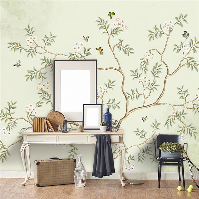 Flower Butterfly Highlight Hand Painted Stylish Style TV Background Wallpaper Living Room Bedroom Wall Paper Mural