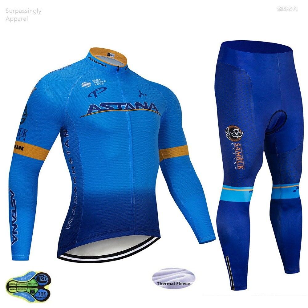 Bleu ASTANA UCI équipe hiver cyclisme Jersey 12D Pad vélo pantalon Ropa Ciclismo coupe-vent thermique polaire vélo veste Maillot Culotte