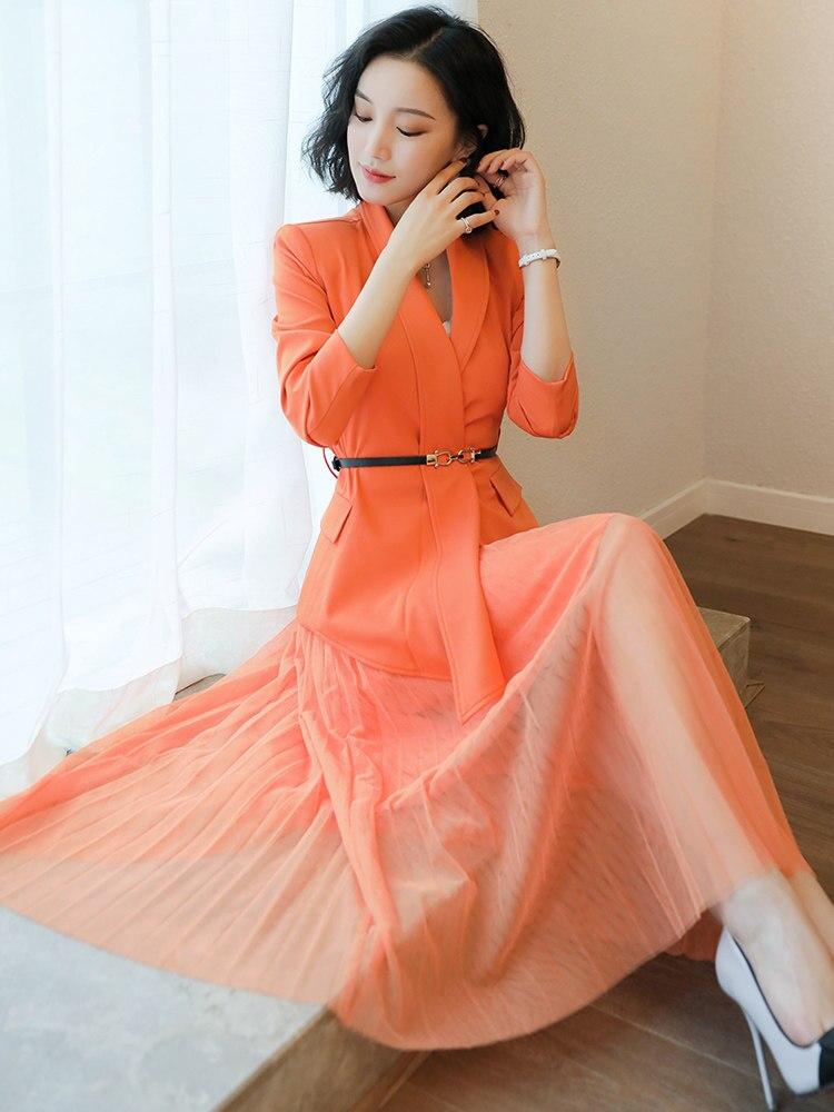 Extérieur Mode Européenne Jupe La Professionnel Vêtements Bureau Orange Station Printemps Deux Veste pièce Costume Blazer De Féminine qtTY818