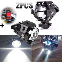 High Quality 2pcs 125W U5 LED Motorcycle Headlight Driving Fog Light Spot Lamp Aluminum Alloy Flashing