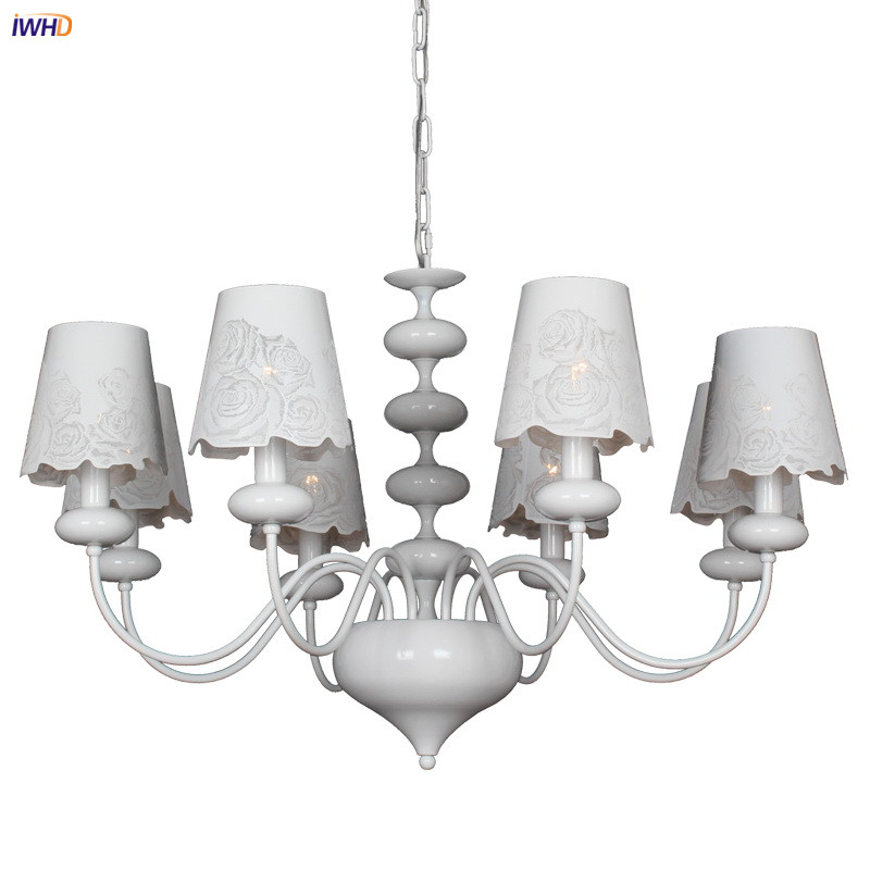 IWHD 8 Heads White Modern Chandeliers For Kitchen Bedroom Living Room Restaurant Cafe Nordic Loft Retro LED Chandelier LustresIWHD 8 Heads White Modern Chandeliers For Kitchen Bedroom Living Room Restaurant Cafe Nordic Loft Retro LED Chandelier Lustres