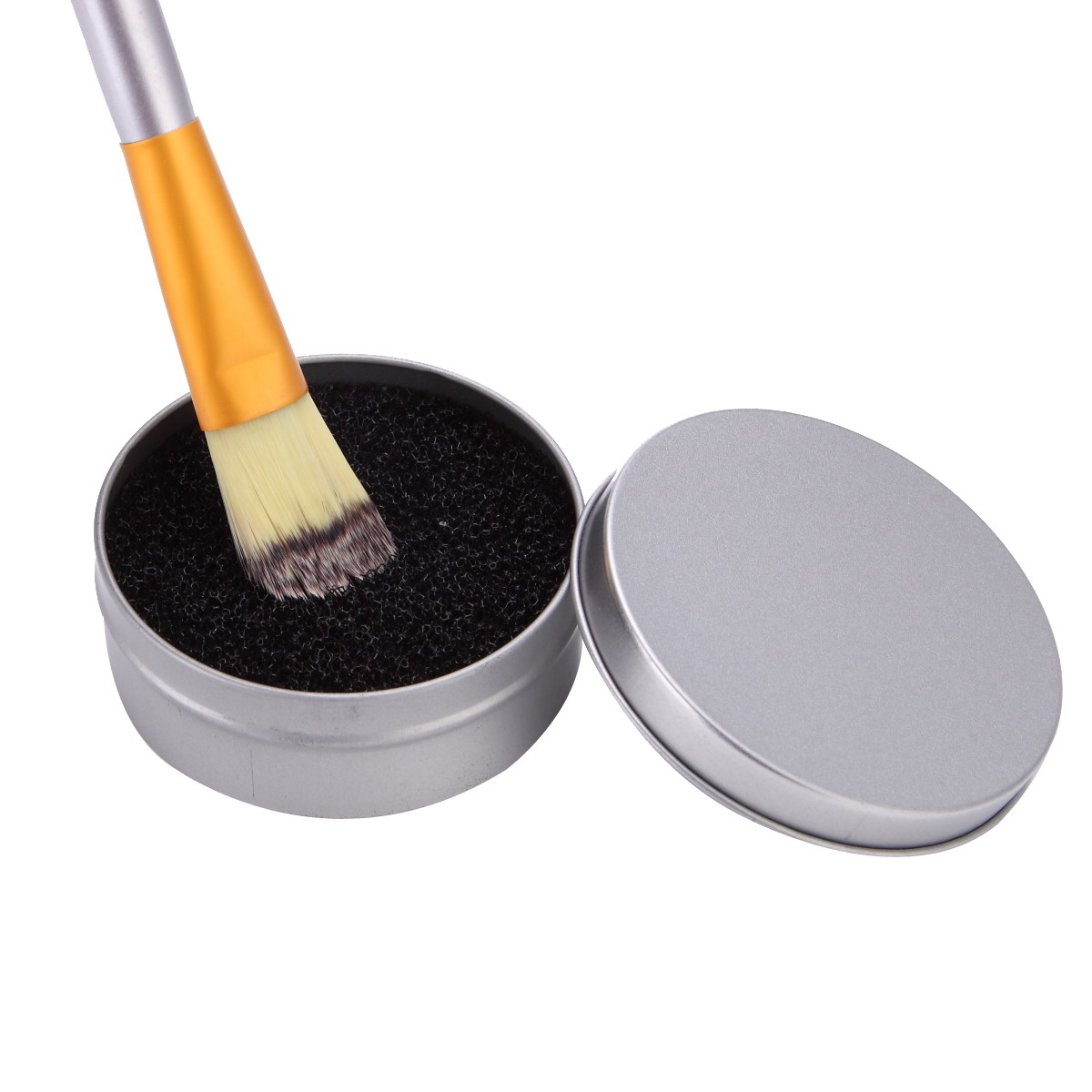 Round Sponge Brush Cosmetic Cleaner Iron Box Eye Lip Nose Face Makeup Brushes Blush Dust Powder Easy Cleaning Remove Clean Case easy remove planes