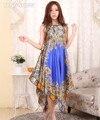 Летний Новый Цветочный Печати Женщины Атласные Пижамы Свободно Случайные Спагетти Ремень Ночной Рубашке Сексуальная Домашнее Платье Халат Платье Плюс Размер NG013