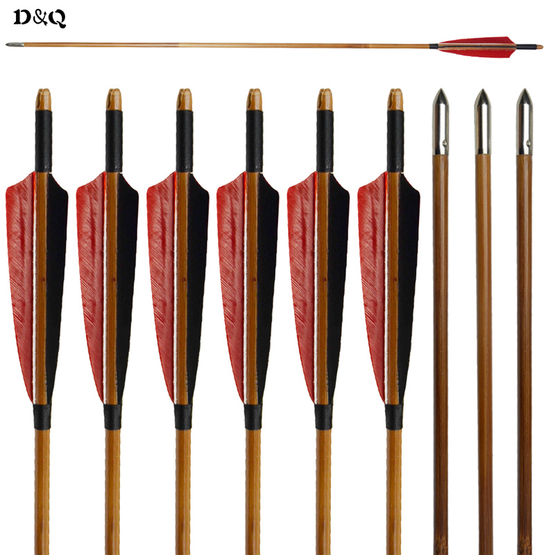 D&Q 12 pcs Handmade Bamboo Arrows 33'' with Red Black Turkey Feather & Practice Field Points for Traditional Recurve Long Bow tango кпб bamboo 3d digital 1331 33
