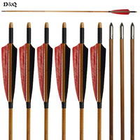 D Q 12 Pcs Handmade Bamboo Arrows 33 With Red Black Turkey Feather Practice Field Points