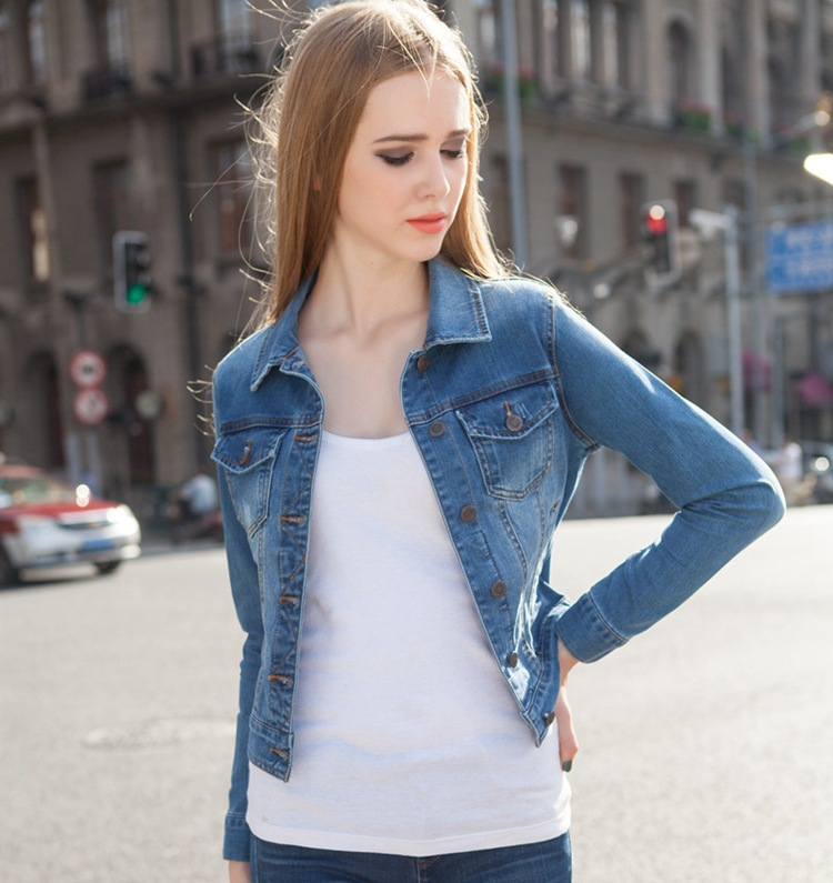 09d847935f5 2015 spring elastic waist jeans stretch denim jackets for women girls jean  short jacket slim long sleeve big Code 2015 spring XL-in Basic Jackets from  ...