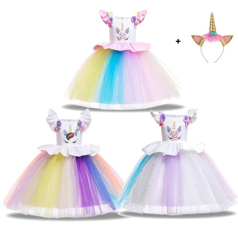 Girls Unicorn Costume Crochet Corset Tulle Dress Children Summer Princess Clothes Kids's Tutu Dress
