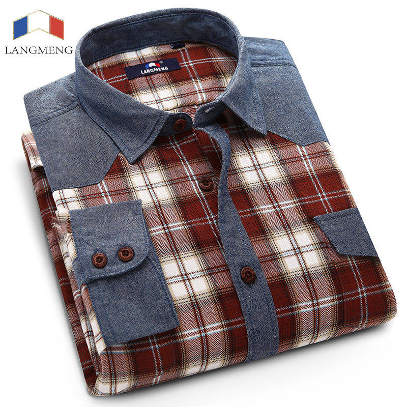 Langmeng men spring autumn long sleeve Shirt plaid casual shirts turn down collar high quality men dress shirts slim fit in Casual Shirts from Men 39 s Clothing