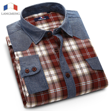 Langmeng men spring autumn long sleeve Shirt plaid casual shirts turn down collar high quality dress slim fit